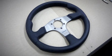 I've picked up a steering wheel for the locost midi. It's a Momo Race wheel – 350mm diameter. Nice solid classic design.